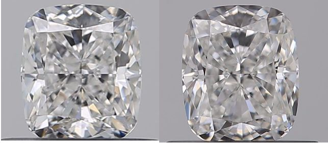 2 pcs Diamanten - 1.06 ct - Kissen - F, G - IF (makellos), VVS1