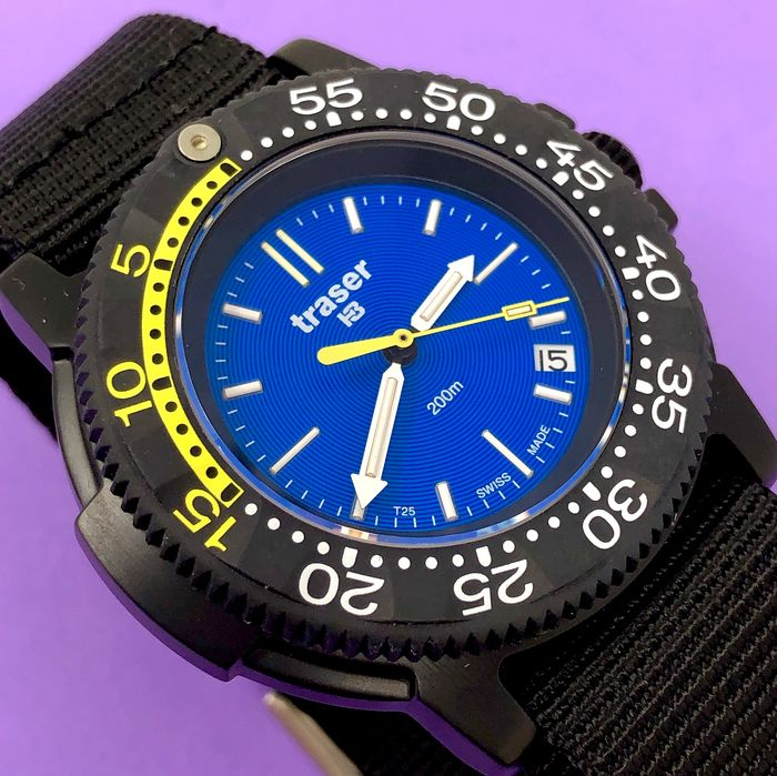 Traser - H3 Nautic Blue Dial Black PVD Nato Strap Swiss Made -  100237 - Heren - Brand New
