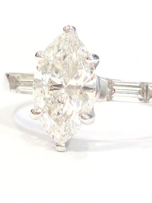 18 carats Or blanc - Bague Diamant - Diamants