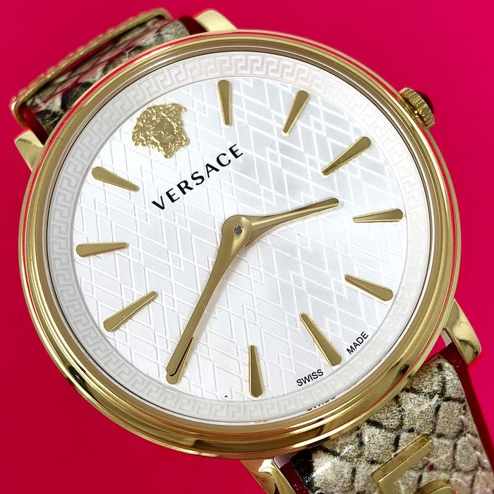 "Versace - V-Circle Manifesto Love Gold-Plated + Extra Strap Swiss Made - VBP080017 ""NO RESERVE PRICE"" - Women - Brand New"