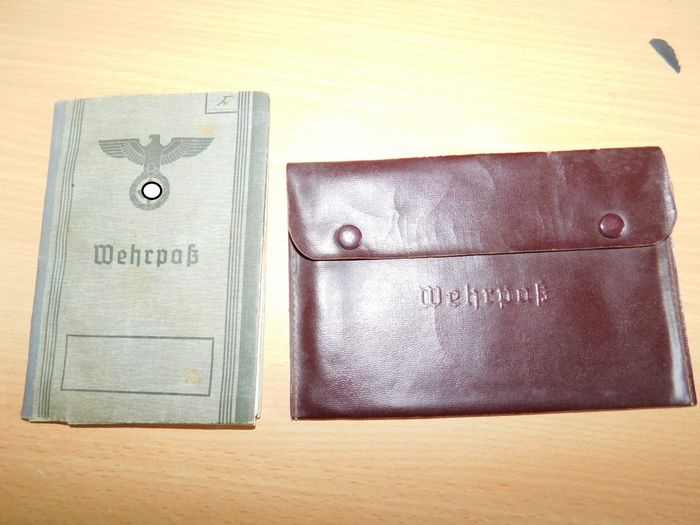 Germany - 3 rich - Original military passport with passport cover, WWII - 1939