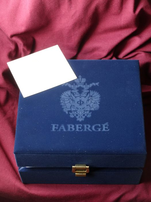 Faberge - Hand engraved letter C  - 24k gold finished - Hand engraved crystal original box
