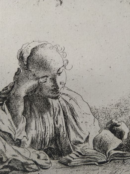After Rembrandt Harmensz van Rijn (1606-1669) printed by M. Charreyre (1883-1884)  - Woman reading