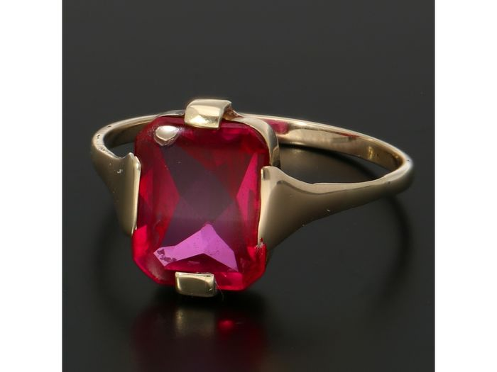 14 carats Or - Bague Rubis synthétique