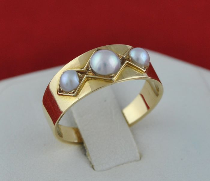 Antique Trilogy Pearl - 18 kt. Yellow gold - Ring Pearl