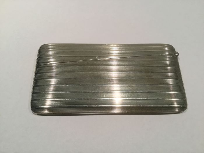Antique silver card holder / business card holder - .800 silver - Germany - Early 20th century