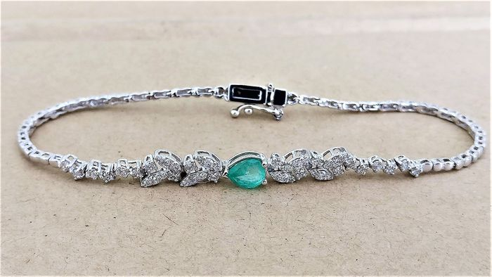 18 kt. White gold - Bracelet - 0.50 ct Emerald - Diamonds