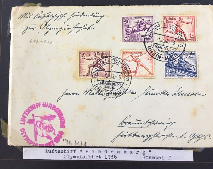 German Empire - 5 letters /cards - zeppelin post - Olympics flight 1936 - Sieger 427
