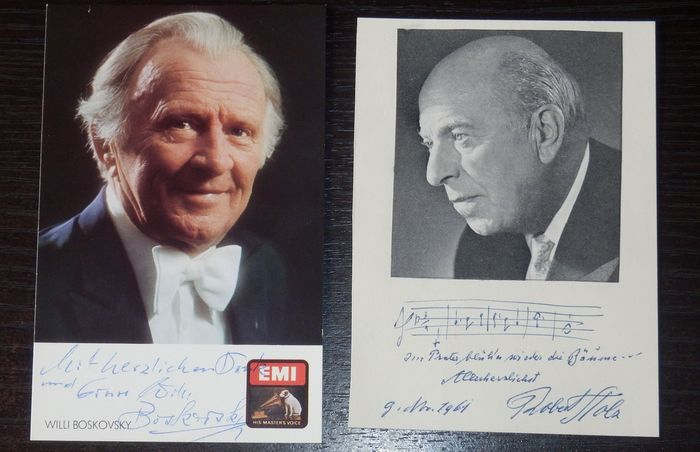 Vintage Signed Photo & Card - Willi Boskovsky & Robert Stolz - Autograph, Photo Set of 2 from personal collection