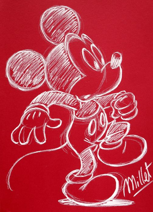 Millet - Original Acrylic Drawing - Mickey Mouse