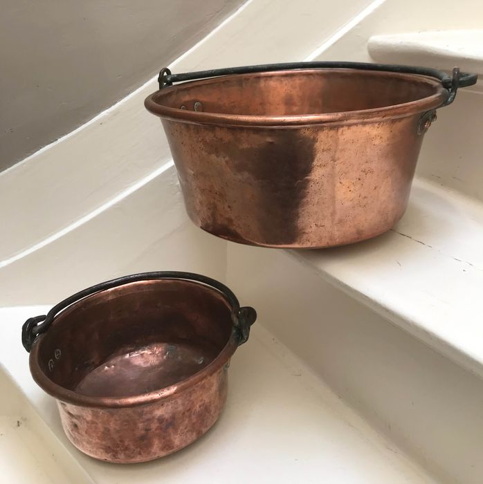 A pair of copper plant pots with riveted nails - Copper