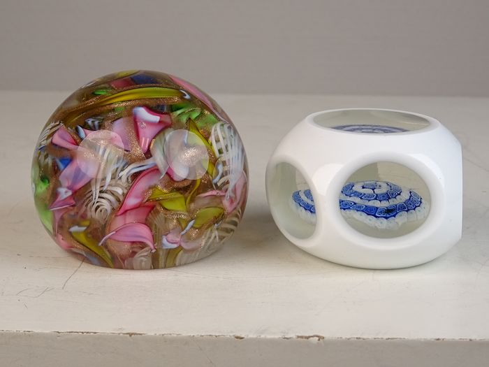Two paperweights - Glass