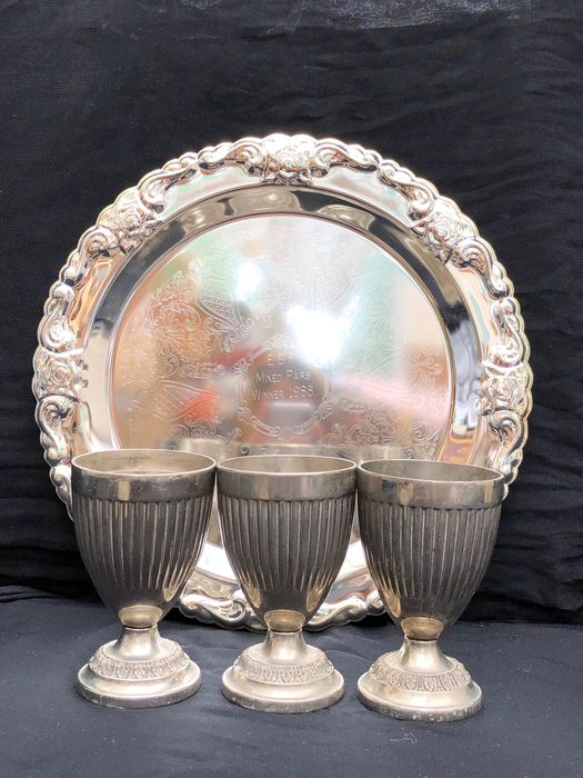 Glasses with Tray - Silverplate
