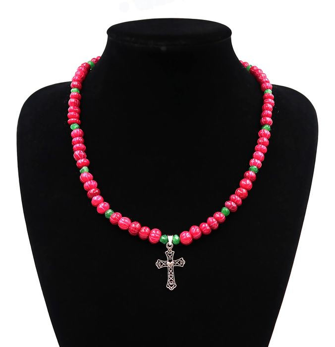 Pearl Necklace with a sterling silver cross-Silver 925 - Ruby and Emerald