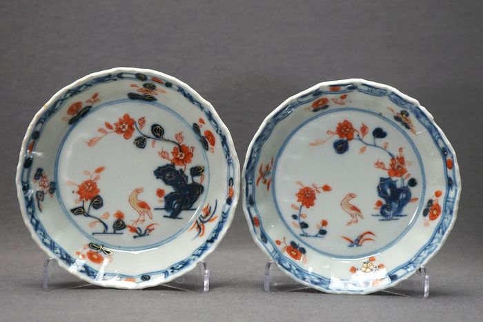 Saucers - Porcelain - Crow near pierced rock with blossoms - China - Qianlong (1736-1795)