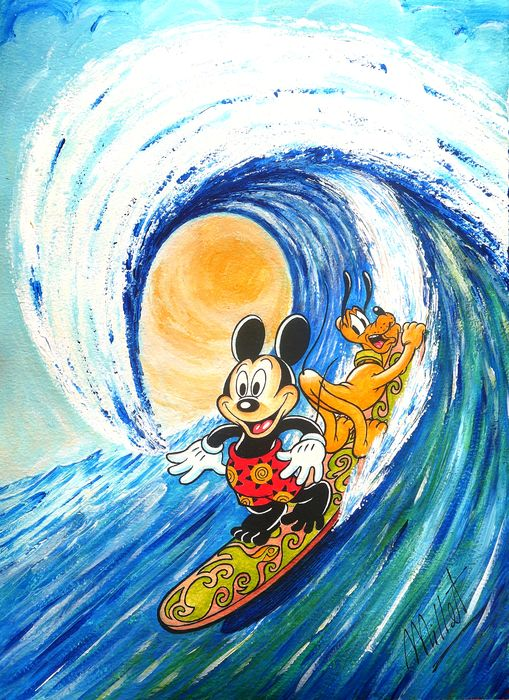 Millet - Original Acrylic Painting - Mickey Mouse & Pluto