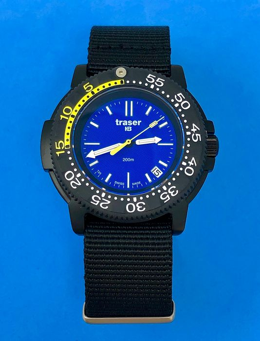 "Traser - H3 Nautic Blue Dial Black PVD Nato Strap Swiss Made - 100237 ""NO RESERVE PRICE"" - Men - Brand New"