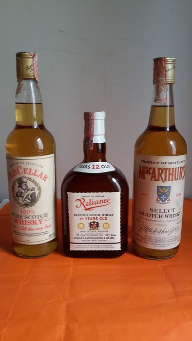 Reliance 12 years old - Old Cellar - Mac Arthur's 3 years old - b. 1970s, 1990s - 70cl & 75cl - 3 bottles