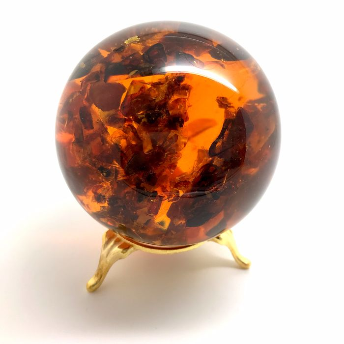 Amber (fossilized resin) Sphere - 73×73×73 mm - 257.9 g