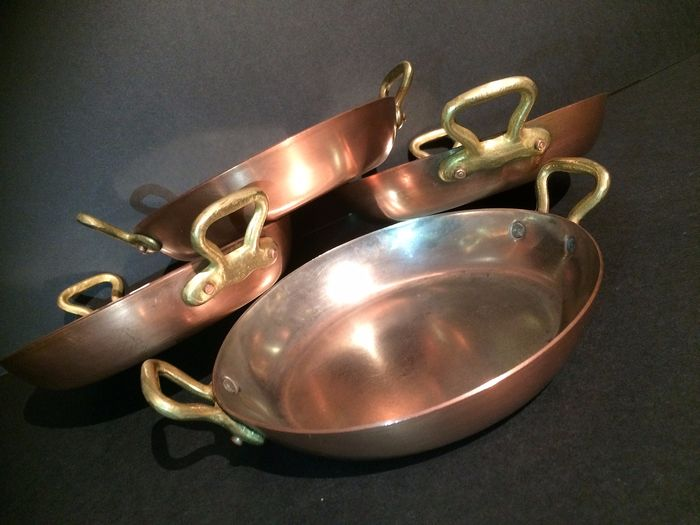 Red copper four pans with two brass ears - copper, brass