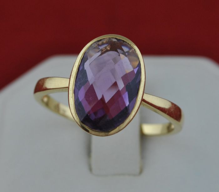 18 kt. Yellow gold - Ring Amethyst