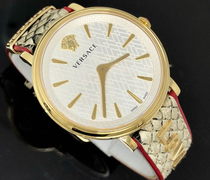 Versace - V-Circle Manifesto Love Gold-Plated + Extra Strap Swiss Made - VBP080017 - Dames - Brand New