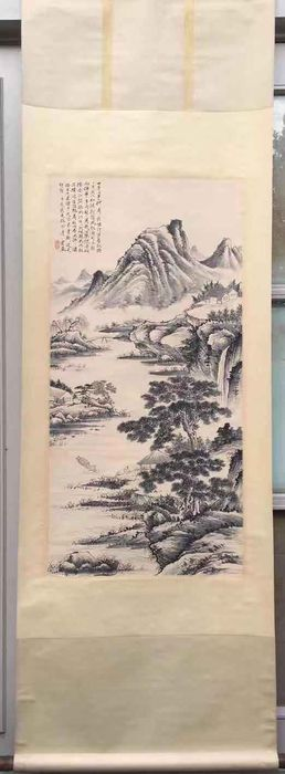 Hanging scroll (1) - Papier-mache - In style of Tangyun - China - 21st century
