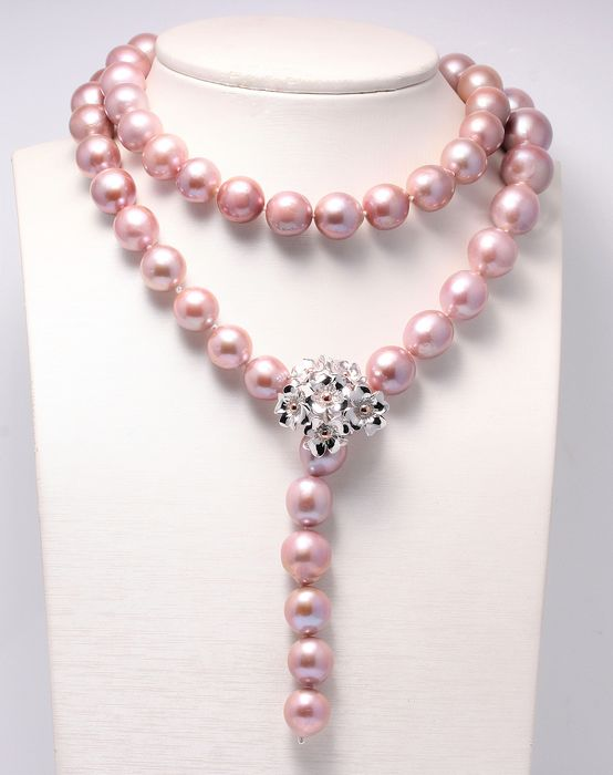 NO RESERVE PRICE - 925 Silver - 13x16mm Pink Edison Pearls - Necklace
