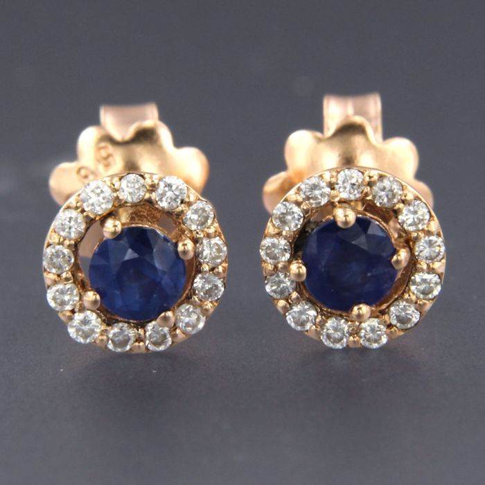 14 kt. Pink gold - Earrings - 0.50 ct Sapphire - Diamond