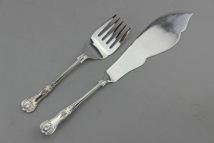 Serving set - fork and knife - Silver plated - Ca.1920's