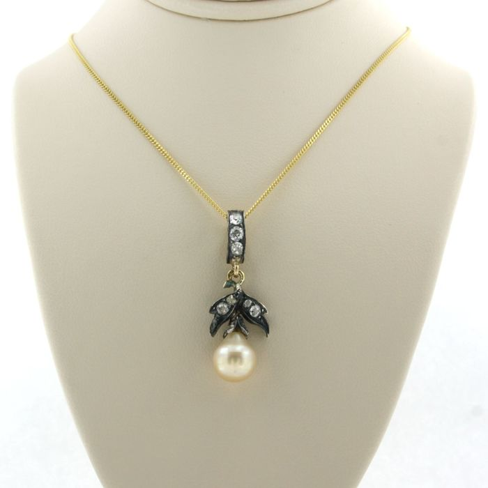 14k goud, en gemengd Gold, Silver - Necklace with pendant - 0.50 ct Diamond - Pearl