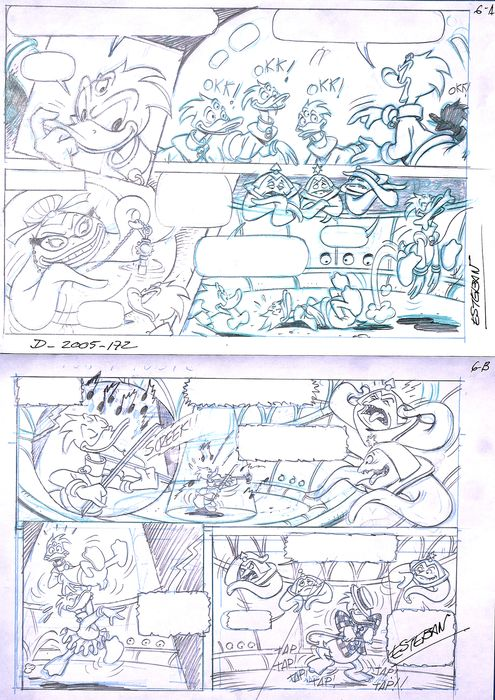 Donald Duck Comic - Original Comic Sketches Pages - Esteban - First edition - (2008)
