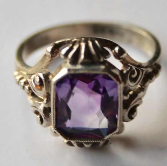 835 Silber - Antiker Jugendstil Ring - 2.32 ct Amethyst
