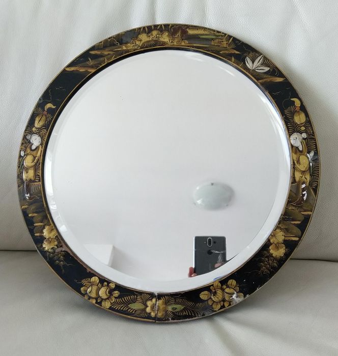 Antique and large lacquered and hand-painted table mirror