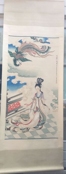 Hanging scroll (1) - Papier-mache - In style of the artist - China - 21st century