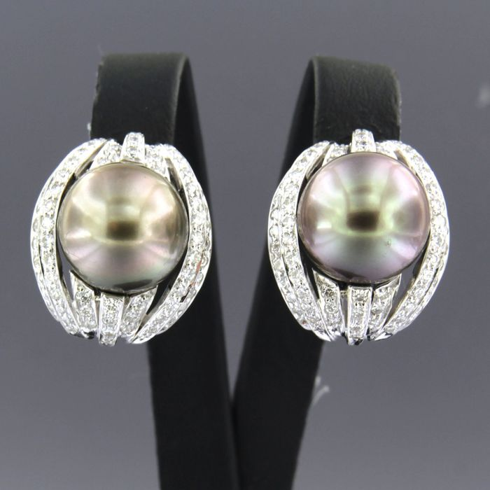 14 quilates Oro blanco - Pendientes - 1.50 ct Diamante - Perla