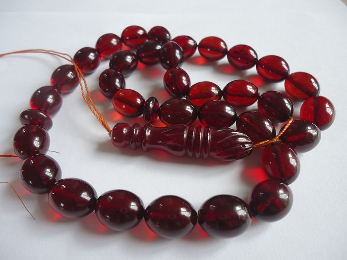 Islamic prayer beads - Red color Baltic amber