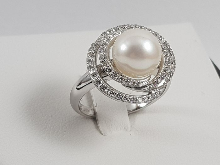 Chimento - 18 kt. White gold - Ring Akoya pearl - Diamonds