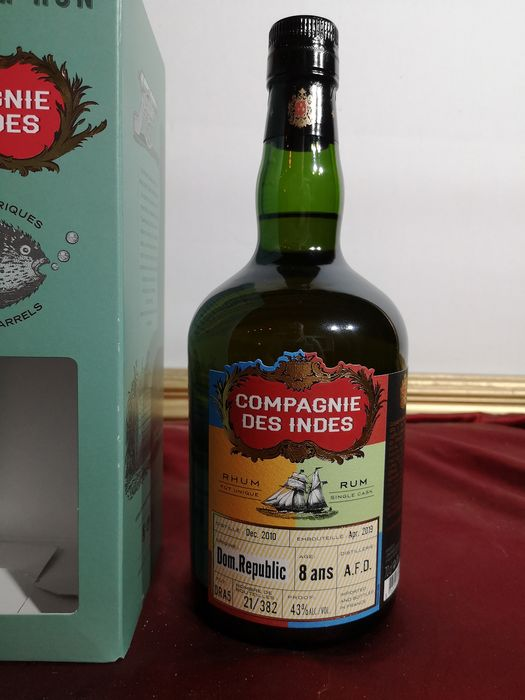 A.F.D. 2010 8 years old Compagnie des Indes - Single Cask - One of 382 bottles - 70cl