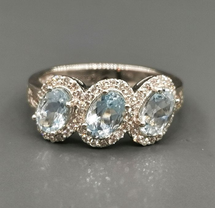 Comete - 18 kt. White gold - Ring - 0.34 ct Diamond - Aquamarine