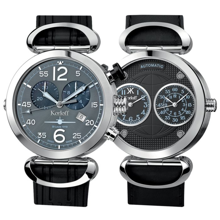 Korloff - Reversible 3 Time Zones Automatic Chronograph Saint Louis Swiss made - AVQ/A - Men - BRAND NEW