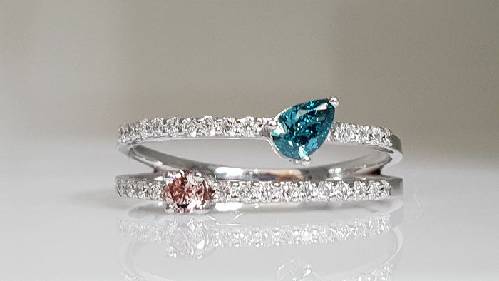 14 kt. White gold - Ring - Colour Treated 0.53 ct Diamond