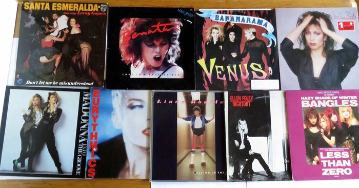 Bangles - Bananarama - Jennifer Rush - Eurythmics  - Ellen Foley - Linda Ronstadt - Madonna - S Esmeralda - Pat Benatar - Multiple titles - Five LP's plus 4 Maxi Singles 12 Inch - 1977/1987