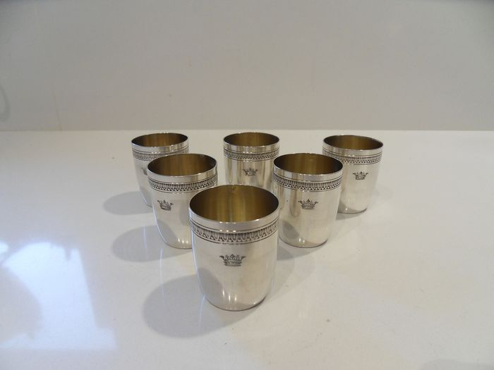 Heavy silver tumblers with sterling silver arms (6) - .950 silver - Alfred Hector - France - mid 19th century