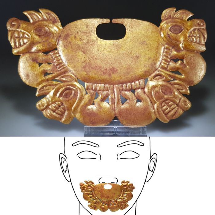 Moche Gold Nose Ornament, 4 Anthropomorphic Figures, 200-500AD - Gold - Moche culture - Peru
