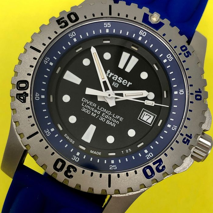 "Traser - H3 Diver Long Life Limited Edition with Blue Rubber Band Swiss Made - 102364 ""NO RESERVE PRICE"" - Hombre - Brand New"