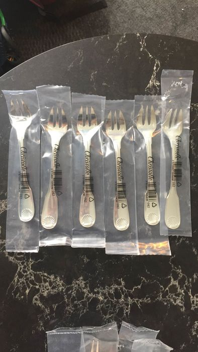 Oyster fork (6) - Silver plated - coquille  - France - 21st century