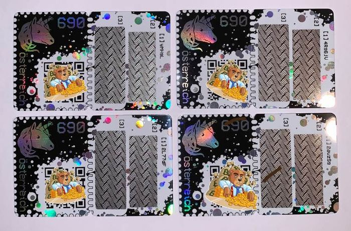 Autriche 2019 - Crypto stamps Yellow, blue, green and black editions