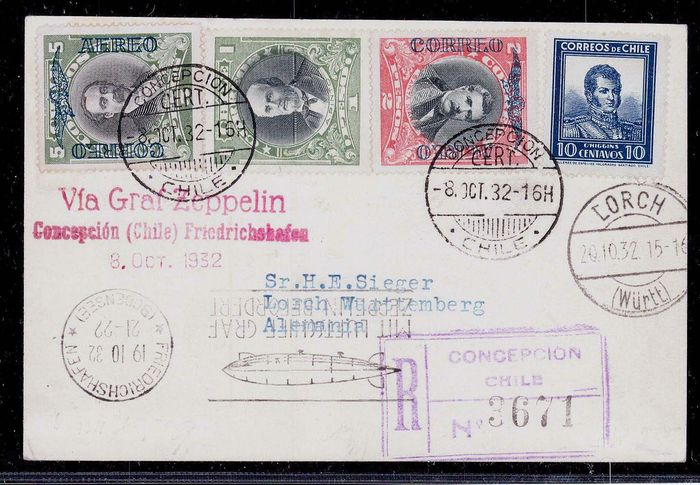Chili 1932 - Graf Zeppelin 8th Southamericaflight 1932 Mail from Chile - registered postcard - Sieger 193