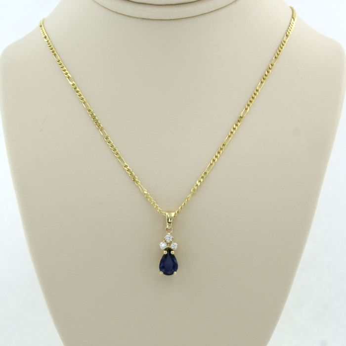 14 kt. Yellow gold - Necklace with pendant - 0.64 ct Sapphire - Diamond